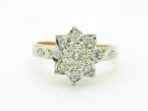 Vintage 14k Yellow & White Gold Diamond Cluster Design Band Hand Made Ring Gift