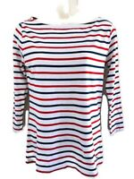 VINEYARD VINES WHITE NAVY BLUE/RED STRIPED 3/4 SLEEVES WIDE NECK TOP WOMENS XS