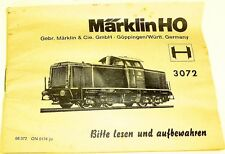 3072 Märklin manual de instrucciones 68 372 TN 0567 Ma # Å