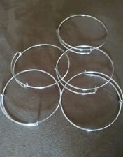 USA Seller!! Expandable wire bangle charm bracelet Silver plated Lot of 5 DIY