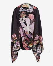 Ted Baker London Black Lahna Lost Gardens Print Silk Scarf/Kimono Cape $185