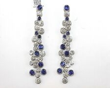 Long Blue Sapphire & Diamond Cluster Drop Chandelier Earrings 18K WG 33.50Ct