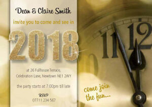 PERSONALISED NEW YEARS EVE PARTY INVITES Invitations CLOCK Pack of 10