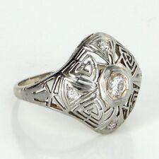 Belais Geometric Diamond Ring Antique Deco Vintage 18k White Gold Fine Jewelry
