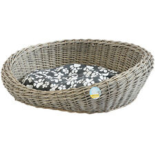 Me & My Pets Oval Woven Wicker Pet Bed Basket Dog/puppy Sofa Washable Cushion
