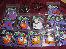 14 Assorted Fabric Plastic Halloween Necklaces Pins Ghost Spider Pumpkins