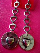 Pewter Heart and Heart Dangle 3 Inch Earrings