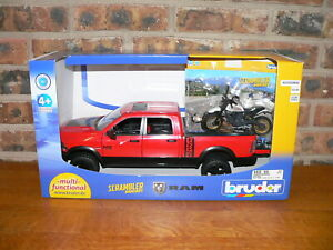 Bruder,Ram 2500 Power Wagon Driver Vehicle,w/Scrambler Ducati Desert Sled,1:16