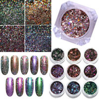 Holographic Poudre Paillettes ongles Nail Art Manucure Glitters Decoration Tips