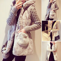 Plus Size Women's Warm Winter Faux Fur Hooded Parka Coat Overcoat Long Jacket UK