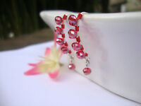 RED Crystal Silver Marquise Dangle Earrings Artisan RED Wire HANDMADE