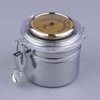 Stainless Steel Portable Cigar Humidor Jar Humidifier Hygrometer Cigar Case