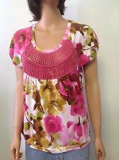 Caribbean Joe Cotton Knit Top Fuschia Floral Sz S Designer Tropical Fashion Chic