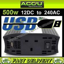 Anillo 12 V Batería de coche a 240 V Hogar Toma de Corriente 500 W Power Inverter + 2 A Puerto Usb