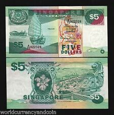 SINGAPORE $5 P19 1989 BRUNEI LION BALL BOAT UNC CURRENCY MONEY BILL BANK NOTE