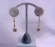 Stones #E131 #210-A/4 Gold Hanging Earring Champagne