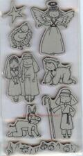 Rubber Cling Stamps BIRTH OF JESUS Baby Angel MaryJoesph CHRISTMAS NATIVITY