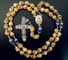 Hueso Calaveras Plata Flor Lapis Lazuli granos Rosario Crucifijo Collar
