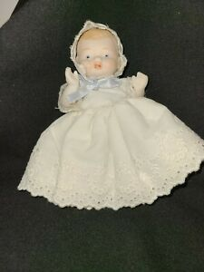 """Vintage Bisque Jointed Baby Doll Hand Painted Unmarked 5"""" Tall w/clothes"""