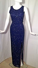 CACHE Beaded Navy Silk Gown Dress Pageant Prom Formal Sz S-M