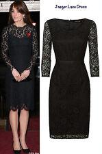 New JAEGER Black Lace Cotton Blend Shift Pencil Evening Dress Size 12 BNWT