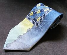 Vitaliano Pancaldi Blue Gold Silver Floral Art Deco 100% Silk Tie Made in Italy