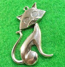 5Pcs. Tibetan Antique Silver Sitting Prissy CAT Charms Pendants Ear Drops C20B