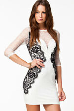 Vestido blanco manga tres cuartos 2989 puntilla elegante ceñido sexy chica joven