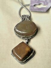 """INDIAN SILVER 2.5""""/6.5cm PENDANT WITH 2 NATURAL AGATE STONES on a 18""""CHAIN £6.99"""