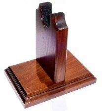 Walnut Wood Gun Rack Revolver Handgun Pistol Stand Display - Fancy Base