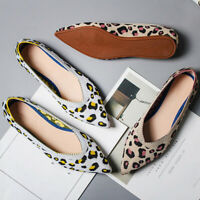 Women's Casual Line Woven Pointed Leopard Print Loafers Pregnant Flats Shoes New