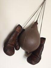 Geoffrey | Vintage Marrón Cuero Guantes de boxeo 12 OZ (approx. 340.19 g) y ponche de tamaño de la bola 5 Retro