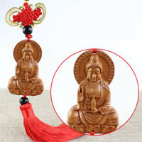 Jujube Wood Carving Red Chinese Kwan Yin Buddha Statue Sculpture Car Pendant