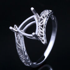 HOT 7x7-8x8MM TRILLION ENGRAVING SEMI MOUNT STERLING SILVER VINTAGE ANTIQUE RING