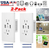 2Pcs Dual USB Wall Outlet Charger Port Socket with 15A Electrical Receptacles