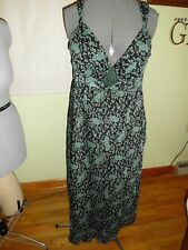 Women's H&M Black/Teal Floral Dress Lined Size 16 Very Good Condition