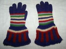 VINTAGE KNITTED WOOL MULTI COLOR STRIPE GLOVES-WINTER-WIDE CUFF-GIRL-PURPLE-RED