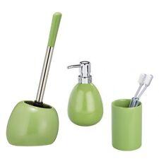 Wenko Polaris Bathroom Set | Green | Toilet Brush, Soap Dispenser, Tumbler