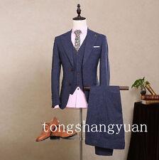 New Lapel Men Suits Jacket+Pants+Vest Blue Groom Tuxedos Business Formal Custom