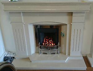 Benson Marble Fireplace in Bianca Shiny Marble Surround