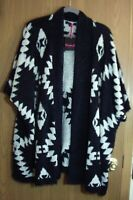 Simply Be Women's 3/4 sleeve open cardigan sweater Black & White Size 24/26 SOFT