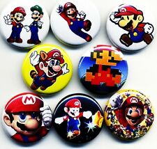 Super Mario Bros x 8 NEW 1 inch pins buttons badges brothers nintendo cart 2 3