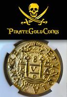 "PERU 1708 8 ESCUDOS ""1715 FLEET"" 14kt PURE GOLD PIRATE GOLD COINS RE-CREATION"