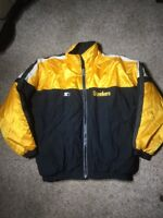 VTG Pittsburgh Steelers Pro Line Starter Full Zip Black Quilted Jacket Sz XL