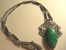 ART DECO PEKING GLASS FILIGREE NECKLACE...GREAT DETAILING....MUST SEE