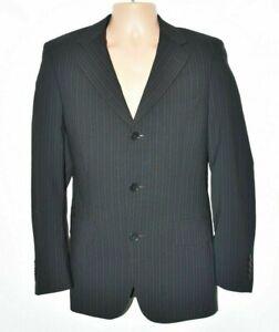 Men's Vintage ZARA Striped Black Wool Blend Blazer Suit Jacket M Pit To Pit 20in