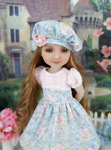"""Watercolor Floral - dress, hat, socks & shoes for 14.5"""" Ruby Red Fashion Friends"""