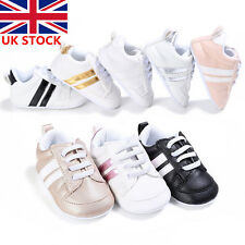 UK Baby Boys Girls Fashion Soft Crib Shoes Leather Prewalker 0-18 Months Toddler
