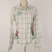 Johnny Was 3J Workshop Fairy Tales 5031 Shirt S Embroidery Rhinestones Raw Edges