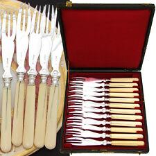 Elegant Antique French 12pc Cake or Melon Fork Set, Carved Handles, Orig. Box